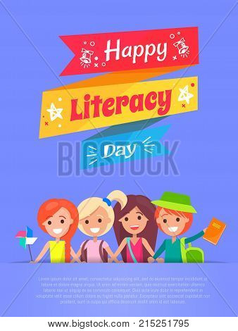 Happy literacy day promotional banner illustrating ribbons with stars and vintage bells with title, text sample and pupils vector illustration
