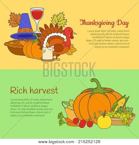Thanksgiving day and rich harvest horizontal banners. Group of ripe vegetables and fruits, thanksgiving symbols flat vector illustrations for harvest festival flyer or poster, organic farm web page