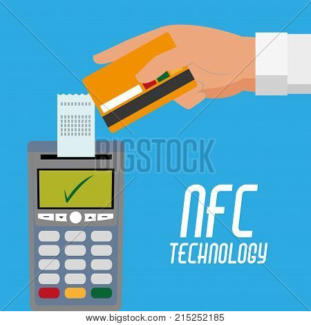 dataphone wth receipt and credi card in the hand over blue background vector illustration
