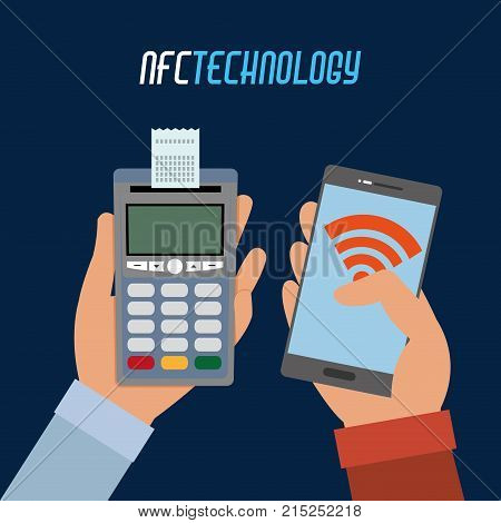 hand with dataphone with receipt and smartphone technology over dark blue background vector illustration