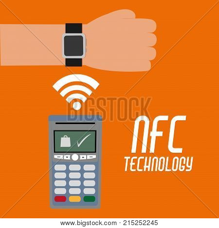dataphone with wifi connection and smartwatch technology over orange background vector illustration