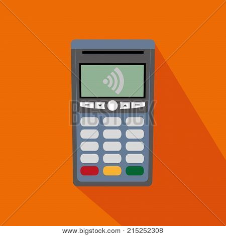 dataphone with wifi connection to nfc transaction over orange background vector illustration