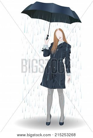 A girl in a short cloak with an umbrella from under which pours rain - vector
