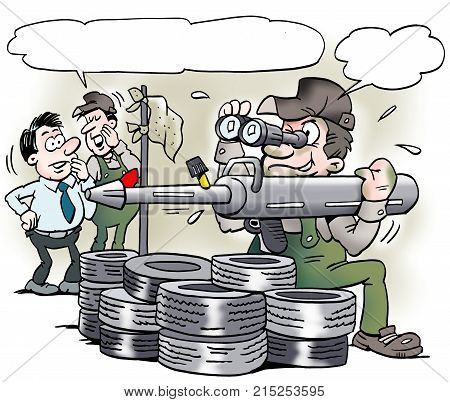 Cartoon illustration of a mechanic with a special grease gun tool that looks like a military bazooka