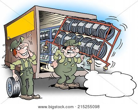 Cartoon illustration of a mechanic there is dragging around with a tool rack for tires