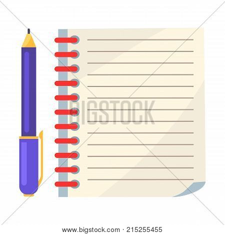 Diary with spiral or page of copybook and blue ink ballpoint pen vector illustration isolated on white. School stationary equipment in flat style