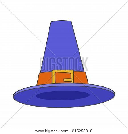 Pilgrim blue hat vector icon isolated on white background. Thanksgiving day celebrating symbol. Traditional headwear of american colonists illustration for applications, logos or web design
