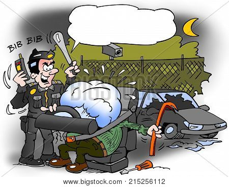 Cartoon illustration of a car thief that has been caught in an inflated airbag