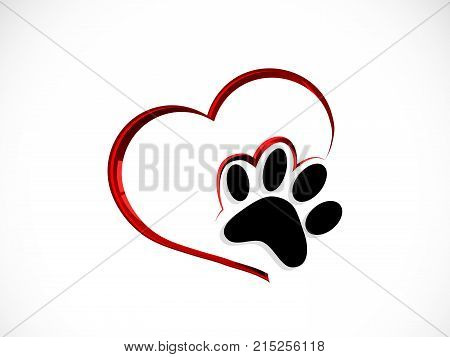 Black cat s paw in red heart