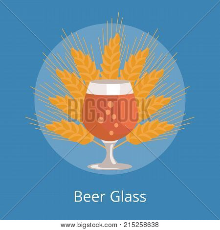 Beer snifter glass of beer in transparent glassware vector on background of ears of wheat. Dark alcohol beverage, symbol of Oktoberfest fest