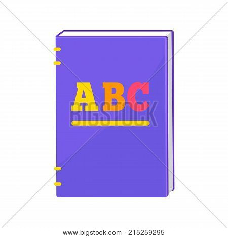 Primer book with colorful capital letters ABC on face side. Vector illustration of purple textbook with hardcover isolated on white background