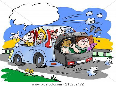 Cartoon illustration of a family on a road trip. Mother in law placed in the luggage roof box suitcase