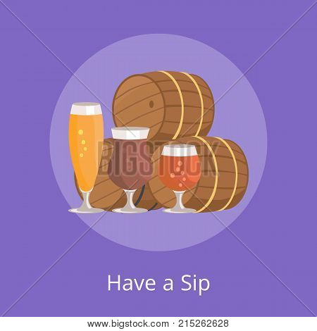 Have a sip vector illustration of three beer barrels and glasses of alcohol drinks different types for degustation at october festival on purple