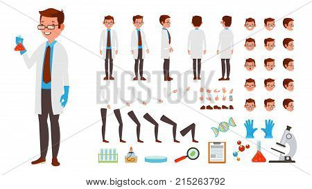Scientist Man Vector. Animated Character Creation Set. Full Length, Front, Side, Back View, Accessories, Poses, Face Emotions Hairstyle Gestures Isolated Illustration