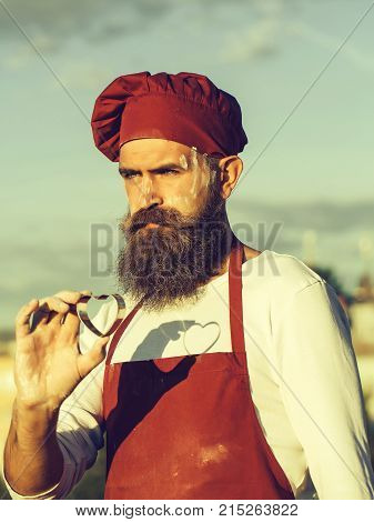 Bearded Cook With Mould Heart
