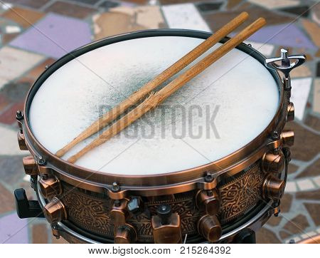 Drum and sticks object set rock image drumbeat playing actions