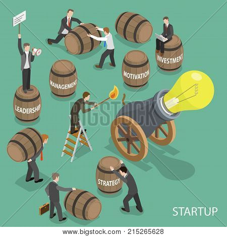 Startup flat isometric vector concept. Team of people is charging the cannon to shoot by the light bulb. Instead of burrels with gunpowder the use burrels with captions like strategy, investment, management, motivation, leadership