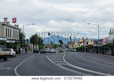 Ararat, Australia - October 21, 2017: Barkly Street is the main commercial street in the western Victorian town of Ararat.
