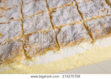 Cream pie close up. Famous cremschnitte dessert from Bled - Slovenia
