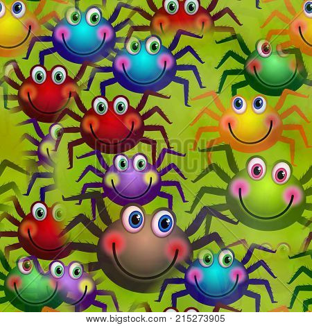 A cheerful kids seamless background design with colorful happy spiders