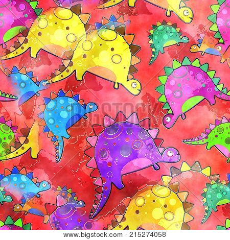 A seamless watercolour dinosaur background textile painting.