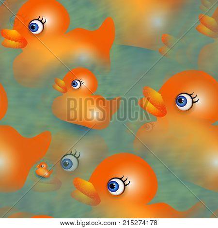 Fun cartoon orange rubber duck repeating background.
