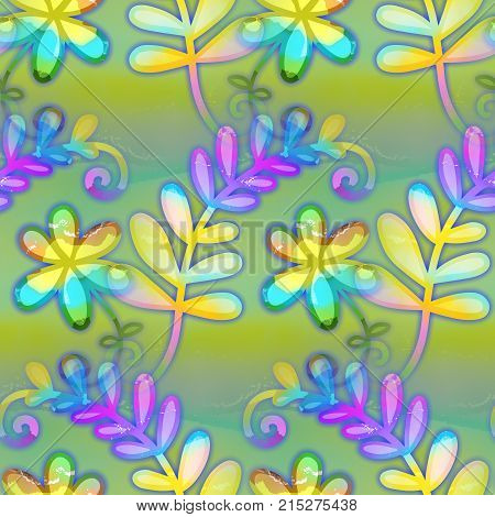 A digitally created seamless textile design with flowers and branches.