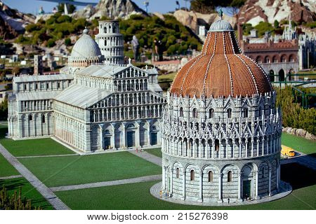 Rimini, Italy - May, 2011: The miniature of Pisa city cahedral in Park of miniatures in Rimini, Italy