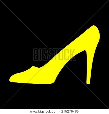 Women shoe yellow sign. Image of elegant silhouette. Beautiful gold icon isolated on white background. Sexy symbol. Logo for fashion.Stock vector illustration
