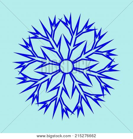 Snowflake sign. Image of snow season. Blue ice icon isolated on white background. Winter design. Cold ornament symbol. Logo for christmas or frozen celebration. Stock vector illustration
