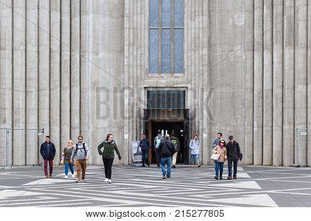 Entrance To Hallgrimskirkja Church In Reykjavik