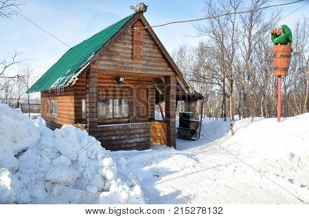 Murmansk,Russia - March 15, 2011: Stylization of the log hut of yaga from Russian folk tales