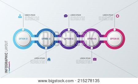 Five  steps infographic process chart. 5 options vector template for presentations, data visualization, layouts, annual reports, web design.