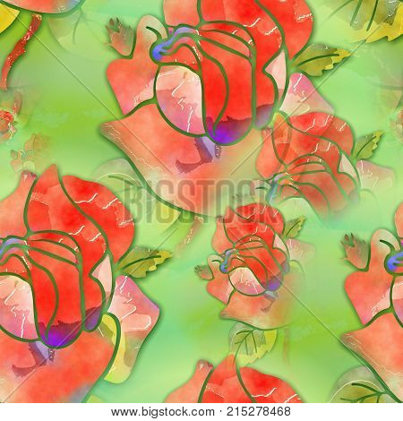 A digitally created seamless textile design with watercolor roses.
