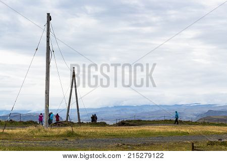 Power Line On Dyrholaey Peninsula In Iceland