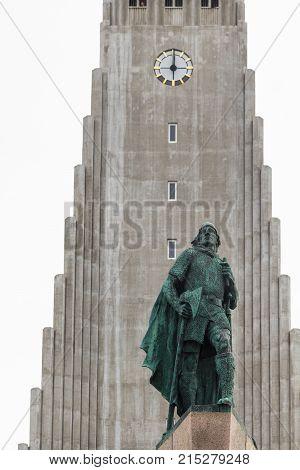 Statue Of Leifur Eiriksson Near Hallgrimskirkja