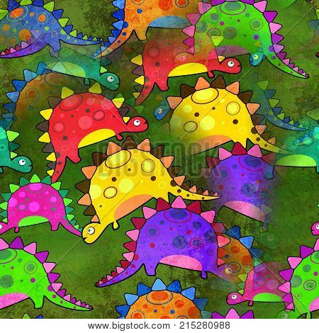 A seamless background paper with cartoon stegosaurus Dinosaurs.