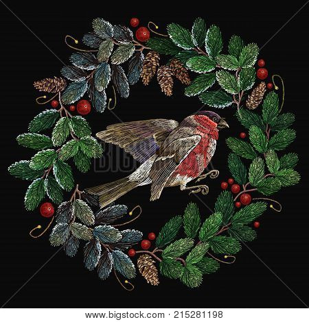 Embroidery christmas tree wreath and red bullfinch. Merry Christmas classical embroidery snow-covered branch of a fir-tree. Christmas fashion t-shirt art
