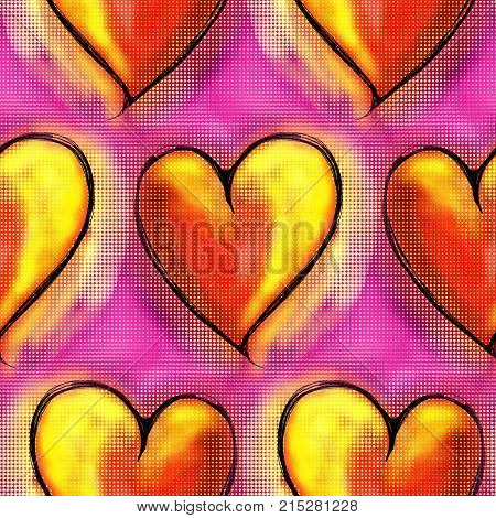 A seamless repeating love heart paper pattern.
