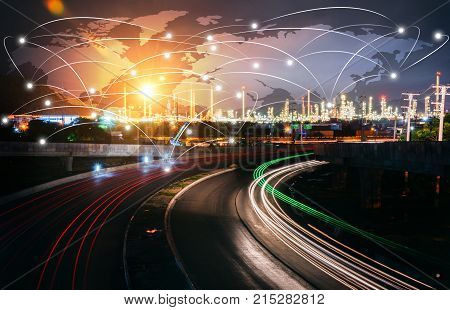 Global partner connection of communication network oil and gas industry petrochemical plant Business Logistics Concept