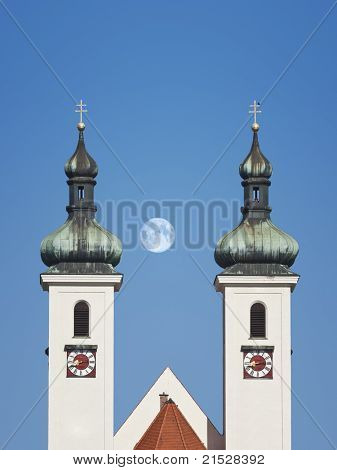 An image of the church towers in Tutzing Bavaria Germany