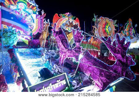 SAKON NAKHON, THAILAND - DEC 25, 2015 : The celebrating Christmas with the dazzling star parade on more than 200 cars together with a Santa Claus and angels parade in Parade of Christmas Star Festival.