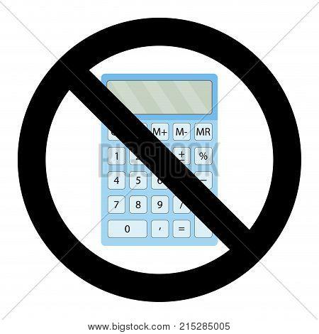 Not use calculator symbol. Calculate mind and training mathematics vector no using on exam illustration