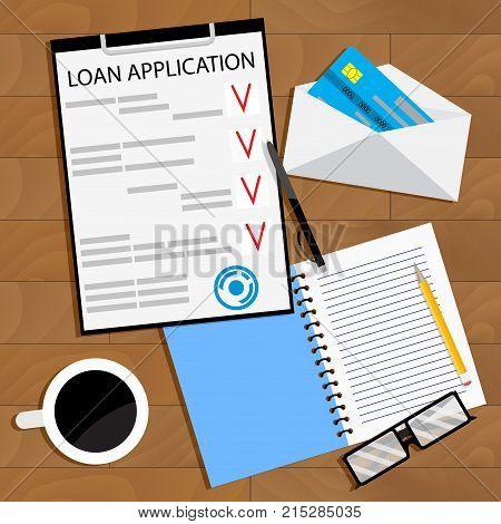 Receiving bank loan concept top view. Loan finance application contaract. Vector illustration