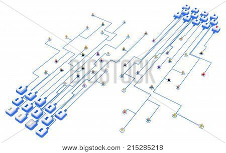 Crowd of small symbolic 3d figures linked by lines system button keyboards over white isolated horizontal