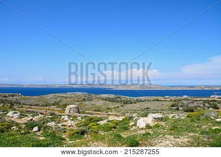 MELLIEHA, MALTA - APRIL 2, 2017 - Views towards Gozo and Comino seen from the Red Fort Malta Europe, April 2, 2017.