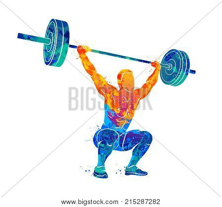 Abstract strong man lifting weights powerlifting weightlifting from splash of watercolors. Vector illustration of paints.