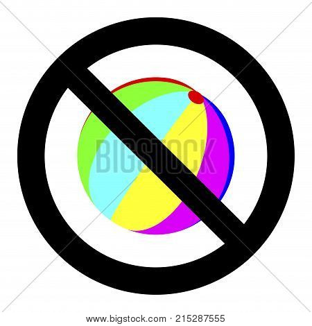 No playing with ball. Vector game prohibition ball ban throw and playtime illustration