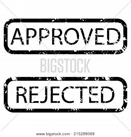 Stamp texture realistic approved and rejected. Black stamp grunge rectangular approval and rejection vector illustration