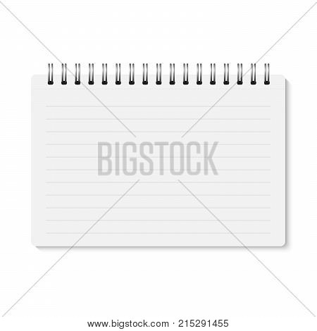 Vector white realistic closed spiral bound notebook. Horizontal blank copybook with metallic silver spiral. Template (mock up) of organizer or diary isolated. Horizontal lined notepad. A5